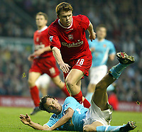 Liverpool's John Arne Riise and Sunderland's Joachim Bjorklund the Premiership match at Anfield, Liverpool, Sunday, November 17th, 2002. <br /><br />Pic by David Rawcliffe/Propaganda<br /><br />Any problems call David Rawcliffe on +44(0)7973 14 2020 or email david@propaganda-photo.com - http://www.propaganda-photo.com