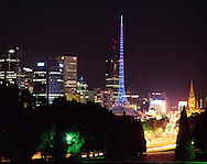 Melbourne Art Centre spire at night with city behind.<br /> <br /> For larger JPEGs and TIFF versions contact EFFECTIVE WORKING IMAGE via our contact page at : www.photography4business.com