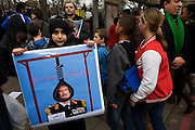 Young girl Libyan exile demands Gaddafi hanging during protests opposite London Libyan embassy during the uprising.