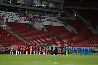 PIRAEUS, GREECE - OCTOBER 21: The two teams prior to the UEFA Champions League Group C stage match between Olympiacos FC and Olympique de Marseille at Karaiskakis Stadium on October 21, 2020 in Piraeus, Greece. (Photo by MB Media)