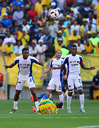 James Okwuosa of Chippa United (L) and Thamsanqa Sangweni of Chippa United over Khama Billiat of Mamelodi Sundowns during the 1st leg of the MTN8 Semi Final between Chippa United and Mamelodi Sundowns held at the Nelson Mandela Bay Stadium in Port Elizabeth, South Africa on the 11th September 2016<br /><br />Photo by: Richard Huggard / Real Time Images