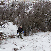 Denver Holt makes his way out of a ravine filled with hawthorn bushes where long eared owls roost and habitat. Missoula, Montana