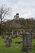 The New Calton Burial Ground on the 9th November 2018 in Edinburgh, Scotland in the United Kingdom. New Calton Burial Ground was built as an overspill and functional replacement to Old Calton Burial Ground and lies half a mile to its east on Regent Road, on the south-east slopes of Calton Hill.