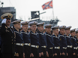 September 1, 2017 - Saint Petersburg, Russia - Nakhimov Naval School cadets at a school line up during the start of a new school year on Knowledge Day in St Petersburg, Russia, on 1st September 2017. (Credit Image: © Igor Russak/NurPhoto via ZUMA Press)