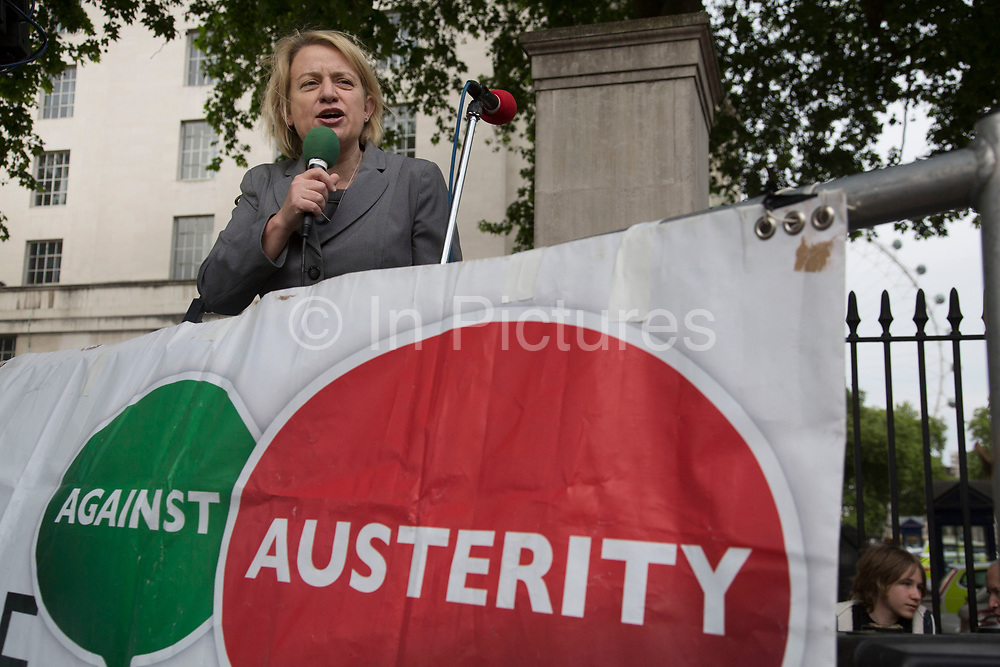 London, UK. Wednesday 27th May 2015. Green Party leader Nathalie Bennett speaks as students demonstrate in Westminster against Tory Party cuts. The protest was focussed on a number of subjects including spending cuts but generally was a mark of displeasure and concern as to what the Conservatives will do while in power.