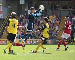 Nottingham Forest's Karl Darlow takes the ball safely  - Photo mandatory by-line: Nigel Pitts-Drake/JMP - Tel: Mobile: 07966 386802 25/08/2013 - SPORT - FOOTBALL -Vicarage Road Stadium - Watford -  Watford v Nottingham Forest - Sky Bet Championship
