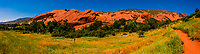 Panoramic view of the red sandstone formations, Red Rocks Park, Morrison (near Denver), Colorado USA.