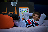 """#65 (PHILLIPS Liam) GBR takes a break on the """"hot seat"""" at the UCI BMX Supercross World Cup in Papendal, Netherlands."""