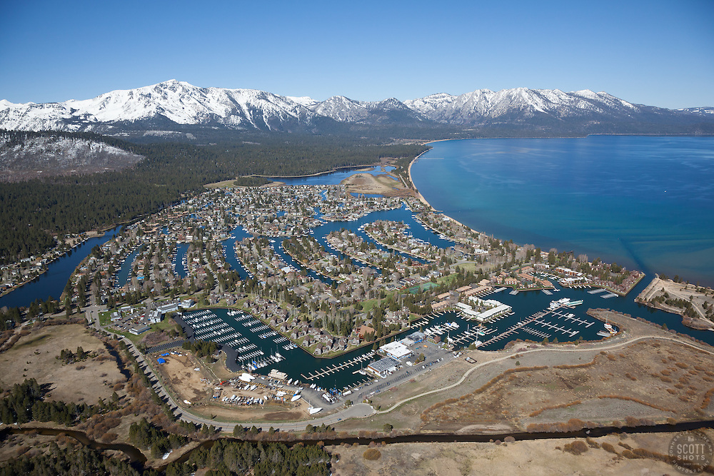 """""""Tahoe Keys Aerial"""" - Aerial photograph of the Tahoe Keys, photographed from a helicopter with the door removed."""