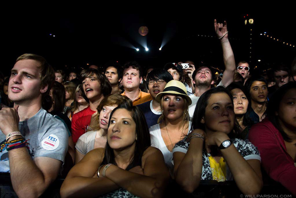 A crowd watches The National perform during the San Diego Street Scene festival in downtown San Diego on September 20, 2008.