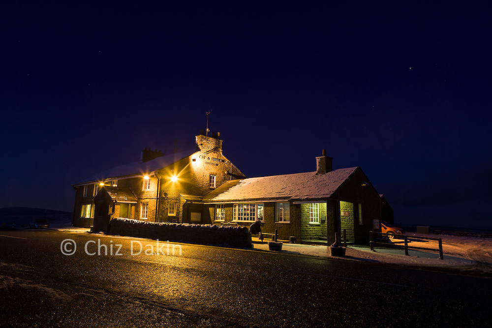 Cat & Fiddle public house at night, on the Macclesfield to Buxton Road, Peak District National Park