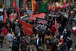 May 1, 2019 - London, Greater London, United Kingdom - Mayday protesters seen walking through London to congregate at Parliament square during the demonstration..Mayday protesters congregated at Trafalgar Square to listen to a range of speeches. There were a range of causes from the rights of sex workers to political action in Kashmir. (Credit Image: © Lexie Harrison-Cripps/SOPA Images via ZUMA Wire)