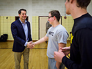 25 APRIL 2019 - DES MOINES, IOWA: US Representative SETH MOULTON (D-MA), talks to a JROTC class about public service, including military service, at Central Academy. Rep. Moulton visited Central Academy in Des Moines Thursday to talk to high school students and the school's JROTC class about public service. Moulton, a US Marine veteran who served in Iraq, is running to be the Democratic candidate for the US Presidency in 2020. Iowa traditionally hosts the the first selection event of the presidential election cycle. The Iowa Caucuses will be on Feb. 3, 2020.             PHOTO BY JACK KURTZ