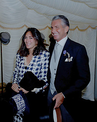6 July 2020 - Ghislaine Maxwell and George Hamilton at the 1991 Derby, Epsom, Surrey.<br /> <br /> <br /> Photo by Dominic O'Neill/Desmond O'Neill Features Ltd.  +44(0)1306 731608  www.donfeatures.com