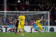 Burton Albion midfielder Stephen Quinn has a shot at goal but goes high over the cross bar during the The FA Cup 1st round match between Scunthorpe United and Burton Albion at Glanford Park, Scunthorpe, England on 10 November 2018.