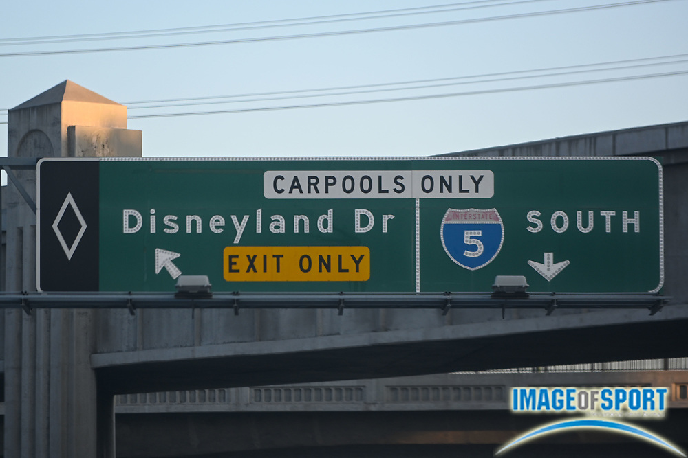 General overall view of Disneyland Drive exit only signage as seen from the Interstate 5 South, Tuesday, Sept. 22, 2020, in Anaheim, Calif. (Dylan Stewart/Image of Sport)