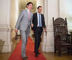 Prime Minister Justin Trudeau, left, has a laugh with Irish Taoiseach Leo Varadkar at Farmleigh House Tuesday, July 4, 2017 in Dublin, Ireland. Photo by Ryan Remiorz/CP/ABACAPRESS.COM