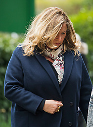 © Licensed to London News Pictures. 18/04/2016. Shirley, UK.  Liza Tarbuck arrives for The funeral of comedian, actor, writer Ronnie Corbett, held at St John the Evangelist Church in Shirley near Croydon. Corbett, who was most famous for his comedy sketch show  The Two Ronnies, performed with the late Ronnie Barker, died at the age of 85. Photo credit: Ben Cawthra/LNP