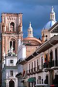ECUADOR, CUENCA colonial architecture and Cathedral