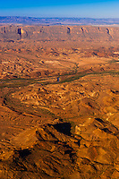 Aerial view from Big Bend National Park, Texas USA across the Rio Grande River to the Santa Elena Escarpment in Mexico. Mexico is on the left side of the river.