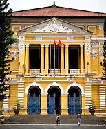 Facade of a colonial building in Ho Chi Minh city, Vietnam, Southeast Asia