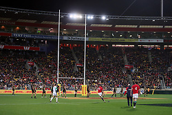 British and Irish Lions' Dan Biggar kicks a penalty during the tour match at the Westpac Stadium, Wellington.