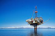 Alaska. Cook Inlet. Mononpod oil and gas production platform
