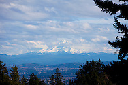 The view of Mount Hood as seen from Council Crest, one of many of Portland's popular city parks.