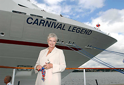 Oscar-winning actress Dame Judi Dench  during a ceremony at Harwich International Port in Essex to officially name the 'The Carnival Legend'.