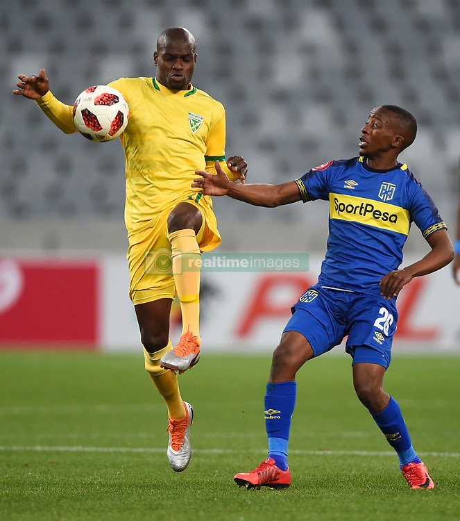 Cape Town-180818 Golden Arrows striker Lerato Lamola challenged by Thabo Nodada of  Cape Town City  in a PSL match at Cape Town Stadium .photograph:Phando Jikelo/African News Agency/ANA