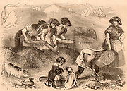 Women and children sifting household refuse in a dust yard in order to salvage anything that could be recycled, such as the pile of bones in the right foreground which would be taken to the glue factory.  Engraving from 'London Labour and the London Poor' by Henry Mayhew (London, 1861).