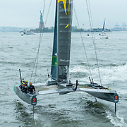 SailGP Team Australia  during practice with Ed Leigh as 6th sailor Event 3 Season 1 SailGP event in New York City, New York, United States. 19 June 2019. Photo: Chris Cameron for SailGP. Handout image supplied by SailGP.