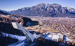 THEMENBILD - das Olympiastadion und die Olympiaschanze aus der Luft, aufgenommen am 30. Dezember 2019 in Garmisch Partenkirchen, Deutschland // aerial View of the the Olympic Stadium and the Olympic ski jumping hill, Garmisch Partenkirchen, Germany  on 2019/12/30. EXPA Pictures © 2019, PhotoCredit: EXPA/ JFK