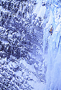Jay Smith climbing a frozen waterfall near Merkigil, Iceland