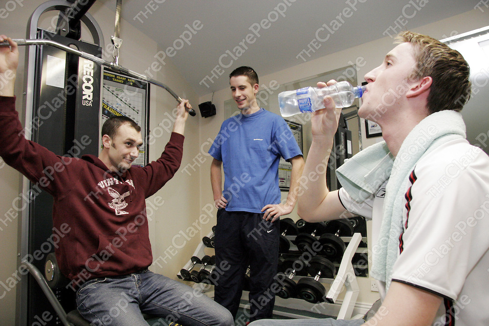 Members of Banner GAA making use of the Woodstock gym.<br /> From left; Owen Rynne, Paul Dilleen and Sean Foley.<br /> <br /> Photograph by Yvonne Vaughan.