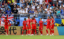 England's Harry Maguire celebrates scoring his side's first goal of the game with his team mates during the FIFA World Cup, Quarter Final match at the Samara Stadium.