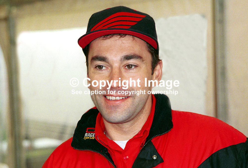 Paul Brown, Messingham, England, racing motocyclist. 199805019. May 1998, NW200, Motorcycle Races, Coleraine, N Ireland, UK.<br /> <br /> Copyright Image from Victor Patterson, Belfast, UK<br /> <br /> t: +44 28 9066 1296 (from Rep of Ireland 048 9066 1296)<br /> m: +44 7802 353836<br /> e: victorpattersonbelfast@gmail.com<br /> <br /> www.images4media.com<br /> <br /> Please see my full Terms and Conditions of Use at https://www.images4media.com/p/terms-conditions - it is IMPORTANT that you familiarise yourself with them.<br /> <br /> Images used online incur an additional cost. This cost should be agreed in writing in advance. Online images must be visibly watermarked i.e. © Victor Patterson or that of the named photographer within the body of the image. The original metadata must not be deleted from images used online.<br /> <br /> This image is only available for the use of the download recipient i.e. television station, newspaper, magazine, book publisher, etc, and must not be passed on to a third party. It is also downloaded on condition that each and every usage is notified within 7 days to victorpattersonbelfast@gmail.com.<br /> <br /> The right of Victor Patterson (or the named photographer) to be identified as the author is asserted in accordance with The Copyright Designs And Patents Act (1988). All moral rights are asserted.