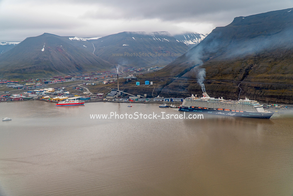 Aerial photography of the port of Spitsbergen, Svalbard, Norway