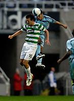 Photo: Jed Wee/Sportsbeat Images.<br /> Newcastle United v Glasgow Celtic. Pre Season Friendly. 26/07/2007.<br /> <br /> Newcastle's Steven Taylor (R) jumps above Celtic's Jan Vennegoor of Hesselink.