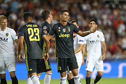 September 19, 2018 - Valencia, Spain - Cristiano Ronaldo of Juventus FC reacts after arguing with Medhi Benatia of Valencia CF during the UEFA Champions League, Group H football match between Valencia CF and Juventus FC on September 19, 2018 at Mestalla stadium in Valencia, Spain (Credit Image: © Manuel Blondeau via ZUMA Wire)