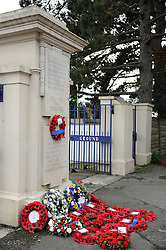 Wreaths are laid out in front of the Memorial Gates at the Memorial Stadium - Mandatory byline: Dougie Allward/JMP - 07966 386802 - 11/11/2015 - Memorial Stadium - Bristol, England- Memorial Service