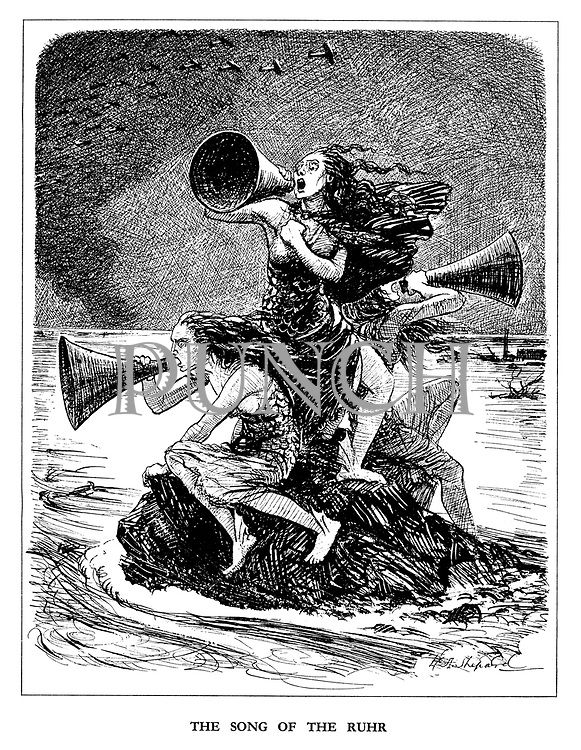 The Song of the Ruhr (cartoon showing the three Rhinemaidens lamenting the loss of their industries after the Dam Busters raid flooded the Ruhr valley)
