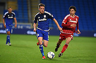 Craig Noone of Cardiff city (l) goes past Diego Fabbrini of Middlesbrough .Skybet football league championship match, Cardiff city v Middlesbrough at the Cardiff city Stadium in Cardiff, South Wales  on Tuesday 20th October 2015.<br /> pic by  Andrew Orchard, Andrew Orchard sports photography.