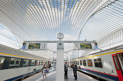 Platform at new Liège-Guillemins modern railway station designed by architect Santiago Calatrava  in Liege Belgium