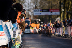 Leaning out for a glimpse of the leaders  - Drentse 8, a 140km road race starting and finishing in Dwingeloo, on March 13, 2016 in Drenthe, Netherlands.