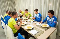 Jani Brajkovic, Jan Polanc, Domen Novak, Luka Mezgec, Tadej Pogacar, Luka Pibernik and Primoz Roglic at dinner of Team Slovenia during  UCI Road World Championship 2020, on September 24, 2020 in Hotel Lungomare, Rimini, Italy. Photo by Vid Ponikvar / Sportida