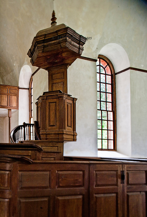 """Perfect American Georgian brick church, funded by Robert """"King"""" Carter in 1735.  Central plan, carved walnut pews and pulpit.  Carfully preserved and devotedly maintained by a private organization.  Interior view of the spectacularly beautiful carved walnut pulpit."""