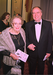 DAME THORA HIRD and MR ALAN BELL Director of TV's Last of the Summer's Wine, at a ball in London on 29th January 1998.MEY 17