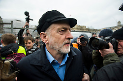 © Licensed to London News Pictures. 26/02/2016. London, UK. Leader of the labour party JEREMY CORBYN attends a CND (Campaign for Nuclear Disarmament) rally in central London on February 27, 2016. Corbyn has been criticised for publicly supporting the CND campaign while Labour Party policy  backs the renewal of Trident nuclear programme. Photo credit: Ben Cawthra/LNP
