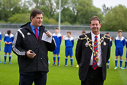 NEWPORT, WALES - Tuesday, May 27, 2014: Welsh Football Trust Chief Executive Neil Ward and Newport City Council Mayor Councillor Matthew Evans during the Welsh Football Trust Cymru Cup 2014 at Dragon Park. (Pic by David Rawcliffe/Propaganda)